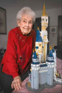 Mary Evans worked two hours each day for a month to build this LEGO replica of the Disney's Cinderella Castle. (PHOTO BY MICHAEL BARBER)